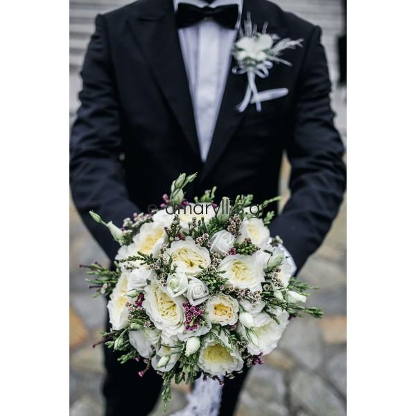 Νυφική ανθοδέσμη με τριαντάφυλλα  ''David Austin''