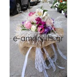 Μίνι μπουκέτο με ροζ λουλούδια
