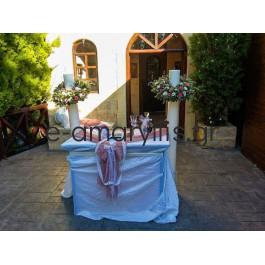 Λαμπάδες με κερί και στεφάνι σε χρώματα του φούξια