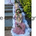 Εξωτερικός στολισμός για γάμο με ξύλινα φανάρια και αποχρώσεις σάπιου μήλου