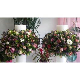 Λαμπάδες γάμου με στεφάνι σε κερί