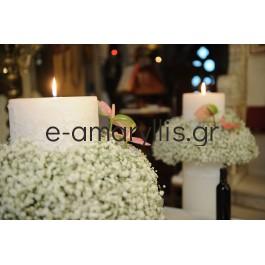 Ζευγάρι λαμπάδων γάμου με Γυψοφύλλη και Ανθούριο ροζ