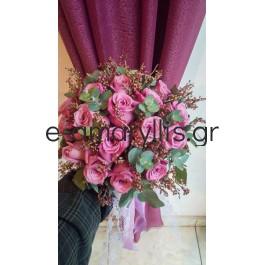 Νυφική ανθοδέσμη με τριαντάφυλλα χρώματος σάπιο μήλο