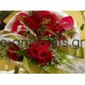 Βραχιολάκι για παρανυφάκι με κόκκινο μινιόν τριαντάφυλλο